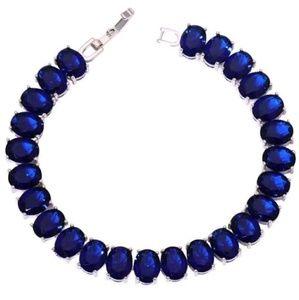 Sparkling Blue Sapphire 925 Silver Tennis Bracelet